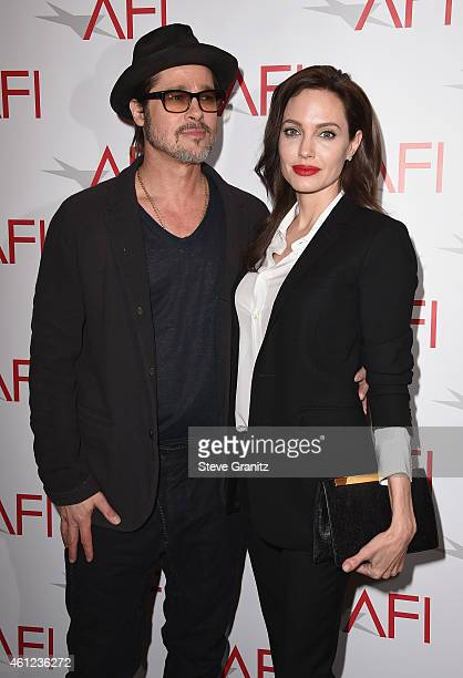 Actors Brad Pitt and Angelina Jolie attend the 15th Annual AFI Awards at Four Seasons Hotel Los Angeles at Beverly Hills on January 9, 2015 in...