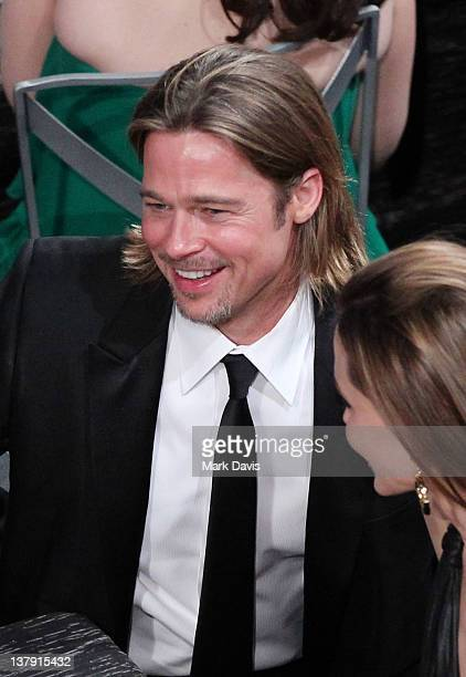 Actors Brad Pitt and Angelina Jolie attend The 18th Annual Screen Actors Guild Awards broadcast on TNT/TBS at The Shrine Auditorium on January 29...