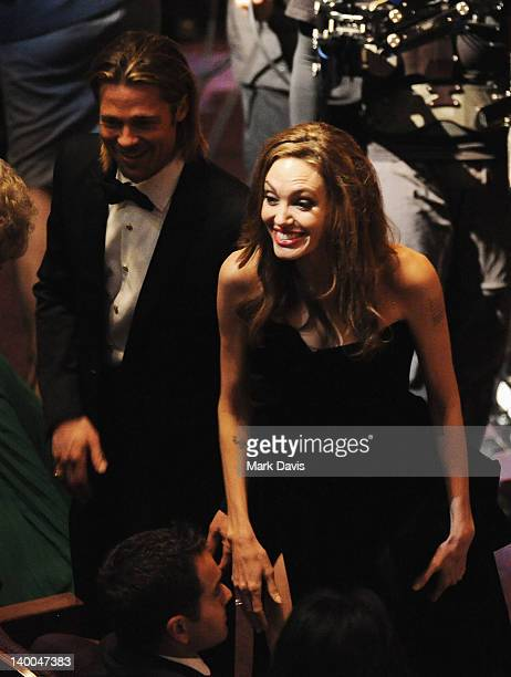 Actors Brad Pitt and Angelina Jolie attend the 84th Annual Academy Awards held at the Hollywood Highland Center on February 26 2012 in Hollywood...