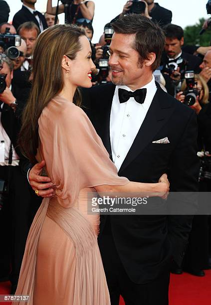 Actors Brad Pitt and Angelina Jolie attend the Inglourious Basterds Premiere held at the Palais Des Festivals during the 62nd International Cannes...
