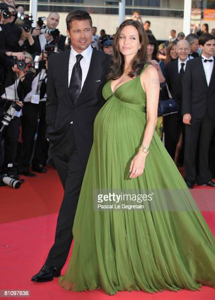 Actors Brad Pitt and Angelina Jolie attend the 'Kung Fu Panda' premiere at the Palais des Festivals during the 61st Cannes International Film...