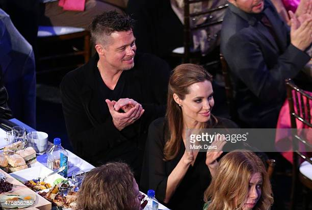 Actors Brad Pitt and Angelina Jolie in the audience during the 2014 Film Independent Spirit Awards at Santa Monica Beach on March 1 2014 in Santa...