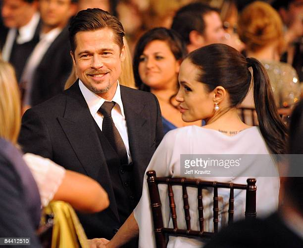 Actors Brad Pitt and Angelina Jolie onstage during VH1's 14th Annual Critics' Choice Awards held at the Santa Monica Civic Auditorium on January 8...