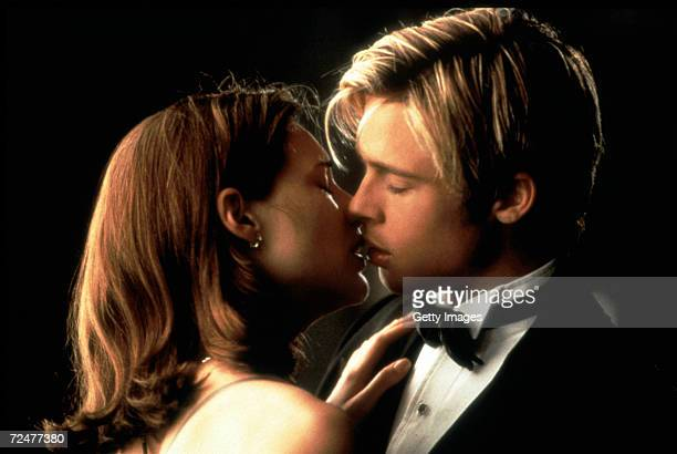 Actors Brad Pitt and Claire Forlani in a romantic scene from the film 'Meet Joe Black'