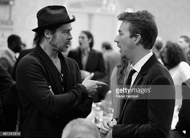Actors Brad Pitt and Edward Norton attend the 15th Annual AFI Awards at Four Seasons Hotel Los Angeles at Beverly Hills on January 9 2015 in Beverly...