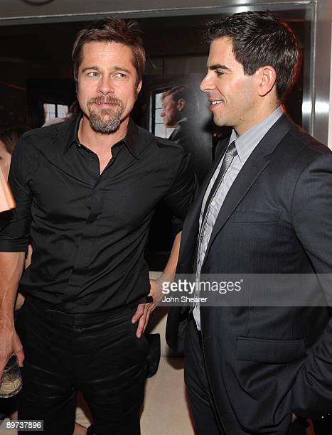 Actors Brad Pitt and Eli Roth attend the Weinstein Co Presents Inglourious Basterds after party at the Mondrian Hotel on August 10 2009 in West...