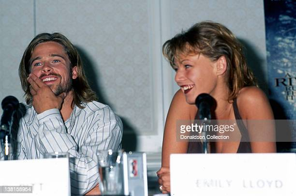 Actors Brad Pitt and Emily Lloyd attend the premiere of the movie in which they appeared 'A Rivers Runs Through It in Los Angeles California