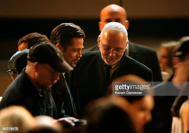 Actors Brad Pitt and Frank Langella during VH1's 14th Annual Critics' Choice Awards held at the Santa Monica Civic Auditorium on January 8 2009 in...