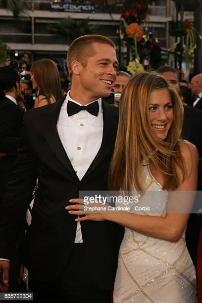 Actors Brad Pitt and Jennifer Aniston attend the premiere of Petersen's movie Troy at the 57th Cannes film festival