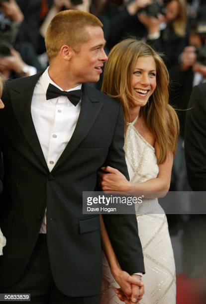 """Actors Brad Pitt and Jennifer Aniston attend the World Premiere of epic movie """"Troy"""" at Le Palais de Festival on May 13, 2004 in Cannes, France...."""
