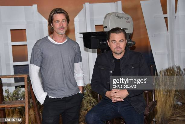"""Actors Brad Pitt and Leonardo DiCaprio attend the photo call for Sony Pictures' """"Once Upon a Time in Hollywood"""" at the Four Seasons hotel on July 11,..."""