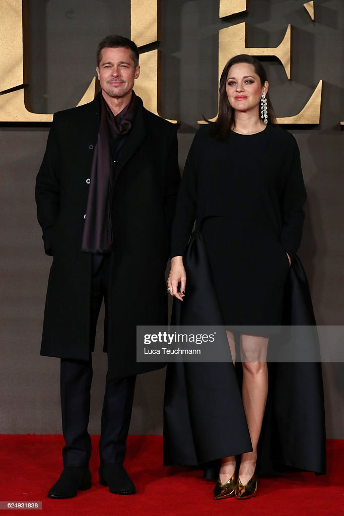 Actors Brad Pitt and Marion Cotillard attend the UK Premiere of 'Allied' at Odeon Leicester Square on November 21, 2016 in London, England.