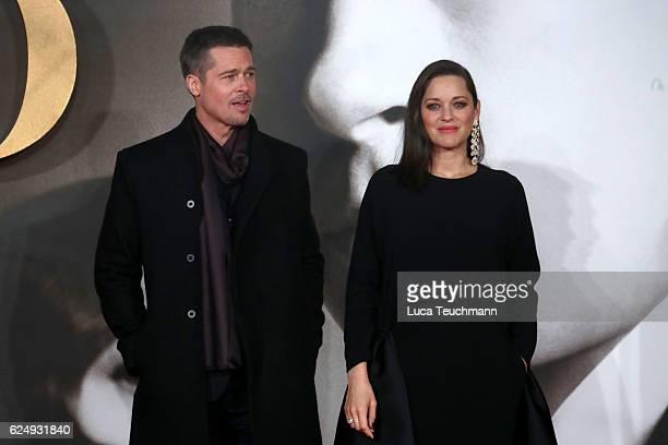 Actors Brad Pitt and Marion Cotillard attend the UK Premiere of Allied at Odeon Leicester Square on November 21 2016 in London England