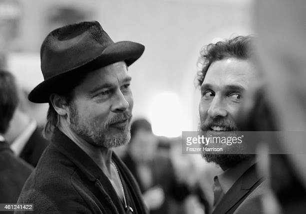 Actors Brad Pitt and Matthew McConaughey attend the 15th Annual AFI Awards at Four Seasons Hotel Los Angeles at Beverly Hills on January 9 2015 in...