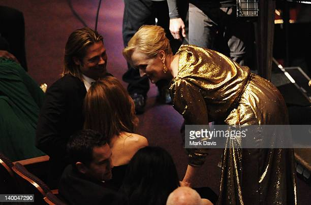 Actors Brad Pitt and Meryl Streep attend the 84th Annual Academy Awards held at the Hollywood Highland Center on February 26 2012 in Hollywood...