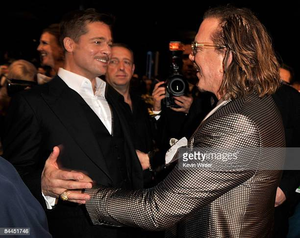Actors Brad Pitt and Mickey Rourke in the audience at the 15th Annual Screen Actors Guild Awards held at the Shrine Auditorium on January 25 2009 in...