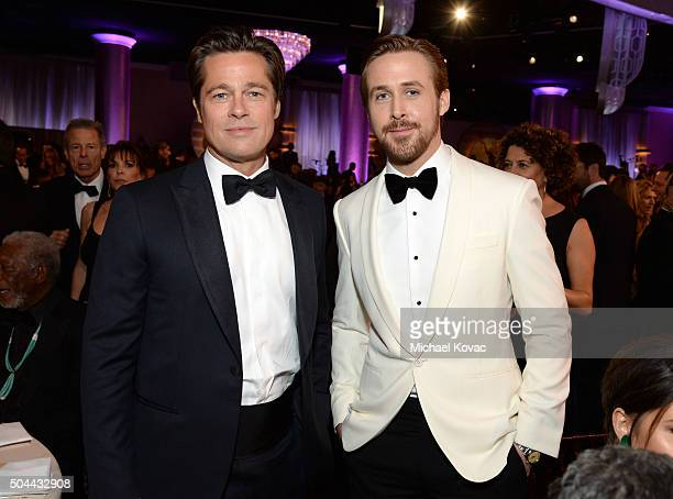 Actors Brad Pitt and Ryan Gosling attend the 73rd Annual Golden Globe Awards held at the Beverly Hilton Hotel on January 10 2016 in Beverly Hills...