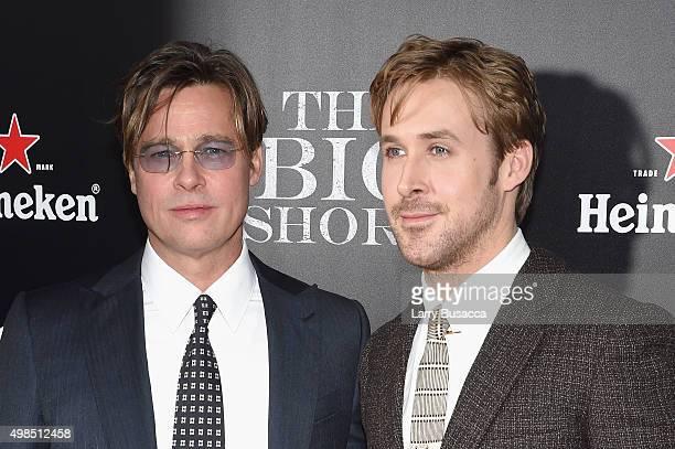 Actors Brad Pitt and Ryan Gosling attend 'The Big Short' Premiere at Ziegfeld Theatre on November 23 2015 in New York City