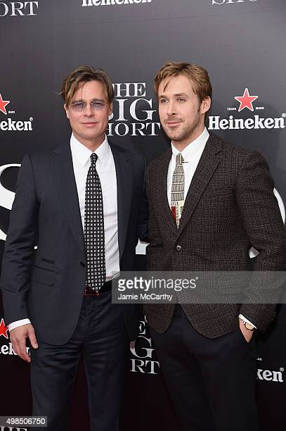 """Actors Brad Pitt and Ryan Gosling attend the premiere of """"The Big Short"""" at Ziegfeld Theatre on November 23, 2015 in New York City."""