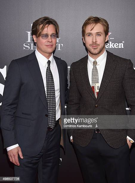Actors Brad Pitt and Ryan Gosling attend the premiere of 'The Big Short' at Ziegfeld Theatre on November 23 2015 in New York City