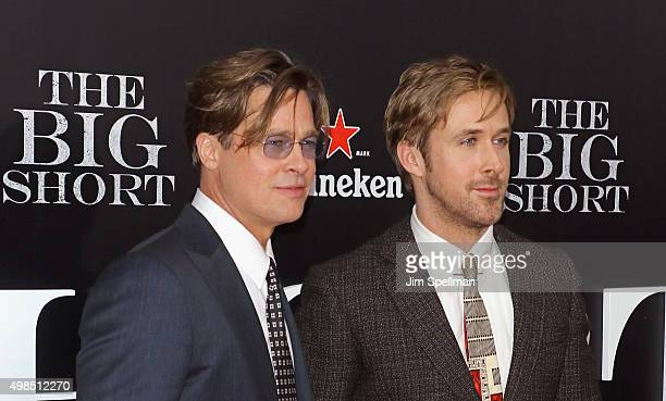 """Actors Brad Pitt and Ryan Gosling attend the """"The Big Short"""" New York premiere at Ziegfeld Theater on November 23, 2015 in New York City."""