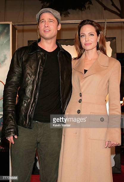 Actors Brad Pitt and wife Angelina Jolie arrive at the premiere of Paramount Pictures' 'Beowulf' at the Westwood Village Theatre on November 5 2007...