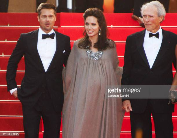 Actors Brad Pitt Angelina Jolie and director Clint Eastwood and his wife Dina Eastwood attend premiere of The Changeling at the 61st Cannes...