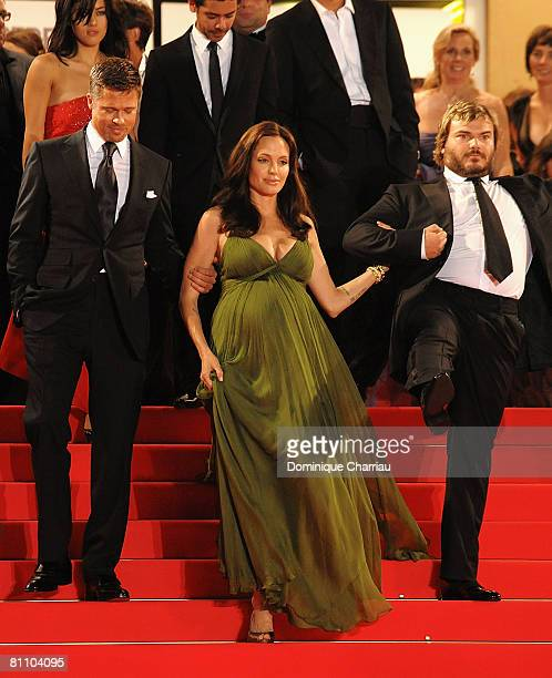 Actors Brad Pitt Angelina Jolie and Jack Black depart the 'Kung Fu Panda' premiere at the Palais des Festivals during the 61st Cannes International...