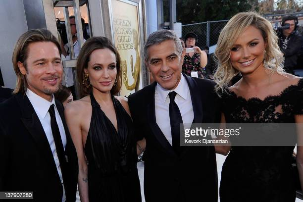 Actors Brad Pitt Angelina Jolie George Clooney and Stacy Keibler arrive at the 18th Annual Screen Actors Guild Awards at The Shrine Auditorium on...