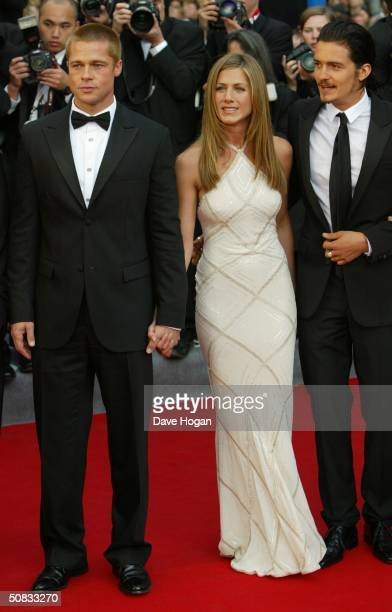 Actors Brad Pitt Jennifer Aniston and Orlando Bloom attend the World Premiere of epic movie Troy at Le Palais de Festival on May 13 2004 in Cannes...