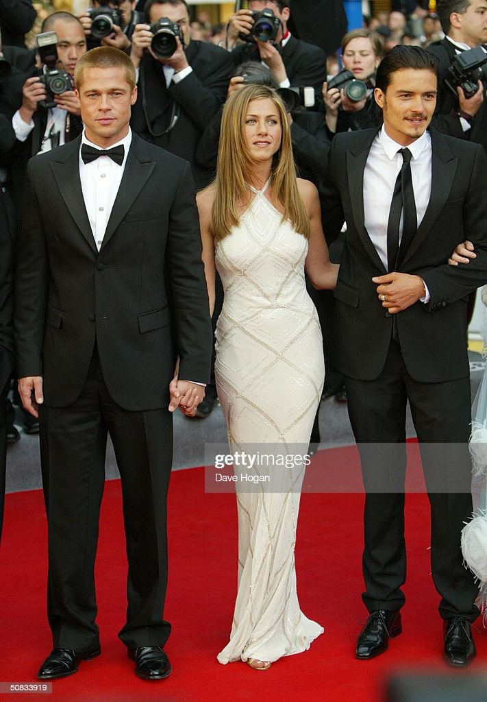 Actors Brad Pitt, Jennifer Aniston and Orlando Bloom attend the World Premiere of epic movie 'Troy' at Le Palais de Festival on May 13, 2004 in Cannes, France.