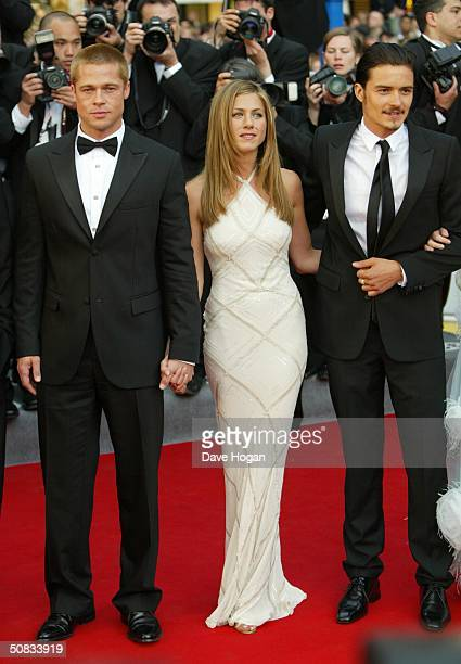 Actors Brad Pitt Jennifer Aniston and Orlando Bloom attend the World Premiere of epic movie 'Troy' at Le Palais de Festival on May 13 2004 in Cannes...