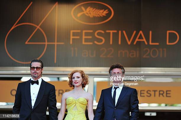Actors Brad Pitt Jessica Chastain and Sean Penn attend 'The Tree Of Life' premiere during the 64th Annual Cannes Film Festival at Palais des...