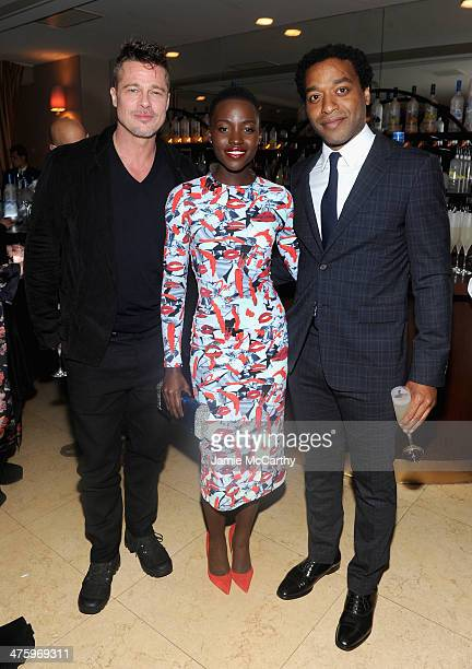 Actors Brad Pitt Lupita Nyong'o and Chiwetel Ejiofor attend GREY GOOSE Hosted '12 Years A Slave' Dinner at Sunset Tower on March 1 2014 in West...