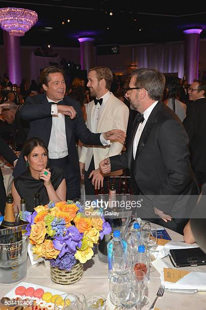 Actors Brad Pitt Ryan Gosling and Steve Carell attend the 73rd annual Golden Globe Awards sponsored by FIJI Water at The Beverly Hilton Hotel on...