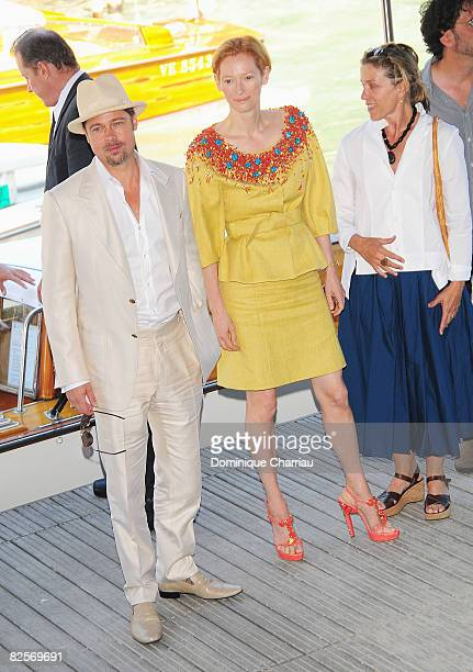 Actors Brad Pitt , Tilda Swinton and Frances McDormand arrive by boat ahead of the Burn After Reading photocall during the 65th Venice Film Festival...