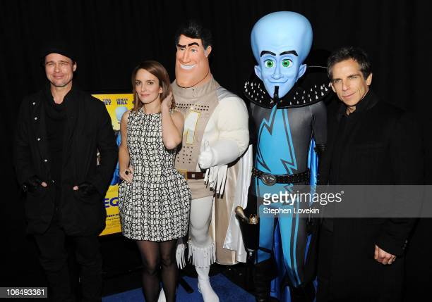 """Actors Brad Pitt, Tina Fey, and Ben Stiller attend the New York premiere of """"Megamind"""" at AMC Lincoln Square Theater on November 3, 2010 in New York..."""
