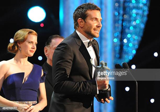 Actors Bradley Cooper and actress Amy Adams attend the 20th Annual Screen Actors Guild Awards at The Shrine Auditorium on January 18, 2014 in Los...