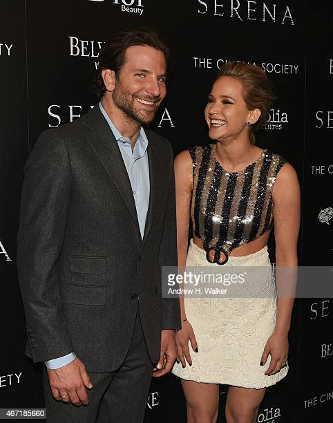 Actors Bradley Cooper and Jennifer Lawrence attend a screening of Serena hosted by Magnolia Pictures and The Cinema Society with Dior Beauty on March...