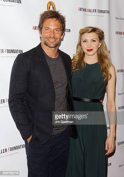 Actors Bradley Cooper and Nina Arianda attend the Arthur Miller One Night 100 Years Benefit at Lyceum Theatre on January 25 2016 in New York City