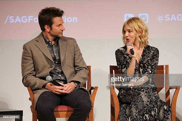 """Actors Bradley Cooper and Sienna Miller attend the SAG Foundation Conversations Screening and Q&A with the cast of """"Burnt"""" at The New School on..."""