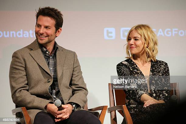 Actors Bradley Cooper and Sienna Miller attend the SAG Foundation Conversations Screening and QA with the cast of 'Burnt' at The New School on...