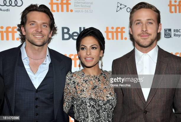 Actors Bradley Cooper Eva Mendes and Ryan Gosling attend 'The Place Beyond The Pines' premiere during the 2012 Toronto International Film Festival at...