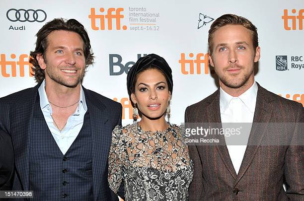 Actors Bradley Cooper Eva Mendes and Ryan Gosling attend The Place Beyond The Pines premiere during the 2012 Toronto International Film Festival at...