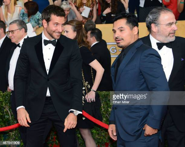 Actors Bradley Cooper Michael Pena and Mandy Patinkin attend the 20th Annual Screen Actors Guild Awards at The Shrine Auditorium on January 18 2014...