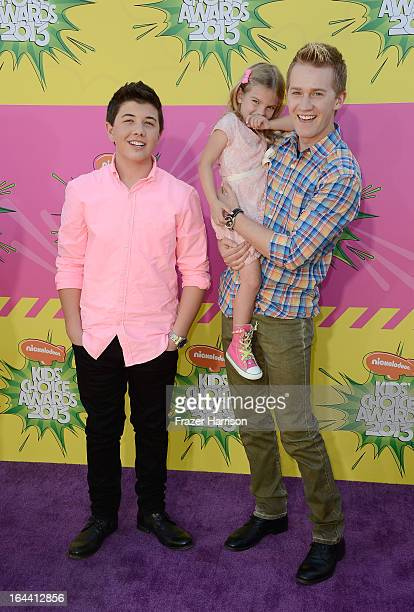 Actors Bradley Steven Perry Mia Talerico and Jason Dolley arrive at Nickelodeon's 26th Annual Kids' Choice Awards at USC Galen Center on March 23...