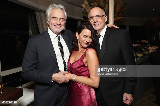 Actors Bradley Whitford Amy Landecker and Jeffrey Tambor attend Amazon Studios Golden Globes Celebration at The Beverly Hilton Hotel on January 8...