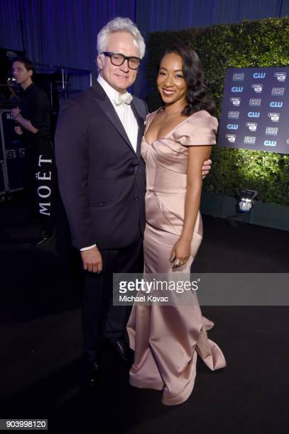 Actors Bradley Whitford and actor Betty Gabriel attend Moet & Chandon celebrate The 23rd Annual Critics' Choice Awards at Barker Hangar on January...