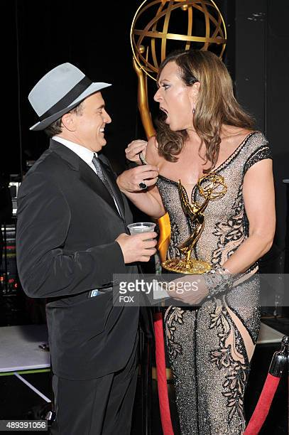 Actors Bradley Whitford and Allison Janney winner of Outstanding Supporting Actress in a Comedy Series award attend the 67th Annual Primetime Emmy...