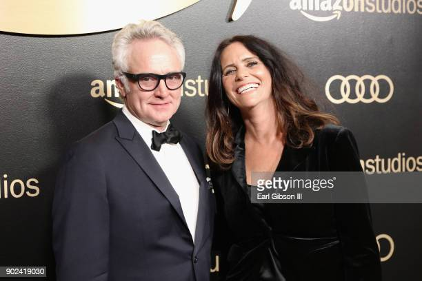 Actors Bradley Whitford and Amy Landecker attend Amazon Studios' Golden Globes Celebration at The Beverly Hilton Hotel on January 7 2018 in Beverly...